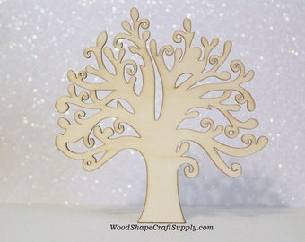 5 - 5 Inch Wood Trees - Large Wooden Tree Blanks for Crafts - Tree of Life - Christmas DIY Crafts - Family Tree - Blank Wood Tree Shapes