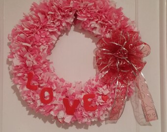 Valentine's Day Wreath in White, Pink and Red - LOVE with Bow FREE SHIPPING