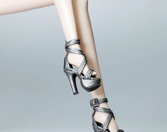 B1011-07 The Vogue Dark Silver Fashion Sandals High Heels Shoes for Barbie Fashion Royalty FR2 Poppy Parker Silkstone