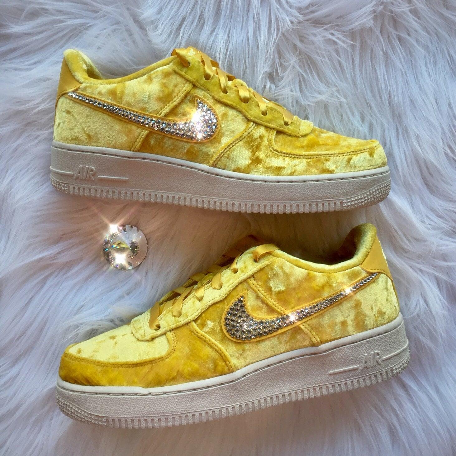 Bling Nike Air Force 1 LV8 Velvet Shoes with Swarovski Crystal