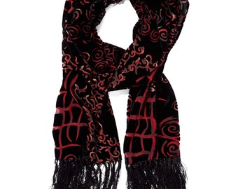 Women's Vintage Black & Red/Brown Abstract Fringe-Trim Silk-Blend Scarf