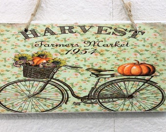 Harvest Bicycle with Pumpkins Printed Fall Decor Handmade Wood Sign