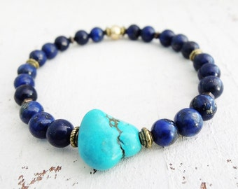Lapis Lazuli Turquoise Nugget Bracelet Boho Gemstone Bracelet Blue Stone Bracelet Beaded Stretch Bracelet Blue Gold Bohemian Style Bracelet