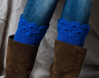 Blue boot cuffs/boots cuffs/winter boot cuff/women girl boot cuffs/boot toppers/boot socks/leg warmers/crochet boot cuffs/boot accessories