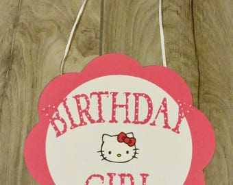 2 Hello Kitty Birthday Signs, Hello Kitty Birthday, Hello Kitty Birthday Girl Sign, Hello Kitty Party Decorations