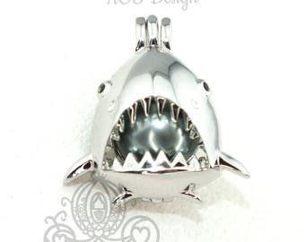 Great White Shark Pearl Cage Necklace Shark Mouth Teeth Fins Silver Plated Locket Charm Sharks Jaws
