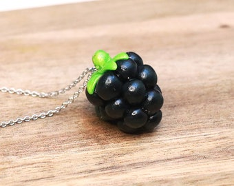 Blackberry Necklace - Fruit jewelry - Fruit necklace - Miniature Food Jewelry