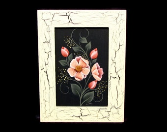Pink Primrose with Rustic Frame, Handpainted Wood Home Decor, Hand Painted Wall Art or Shelf Sitter, Tole Decorative Painting