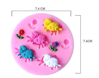 Sheep and Flowers Sugarcraft Silicone Mould