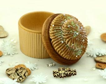 Large Handmade Wooden Cupcake Box with Iridescent Aurora Borealis Swarovski Crystals