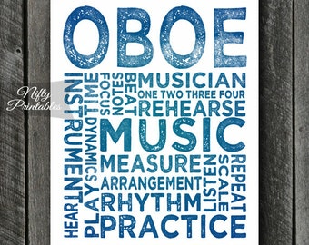 Oboe Art - INSTANT DOWNLOAD Oboe Print - Oboe Player - Oboe Poster - Oboe Gifts - Music Gifts - Oboe Wall Art - Oboe Decor - Music Decor