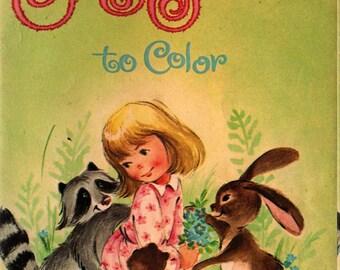 Furry Friends to Color - Louise Gordon - 1966 - Vintage Kids Book