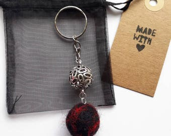 Red felt ball and silver connector charm keyring