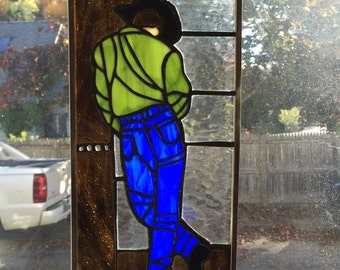 Stained glass Cowboy window hanging