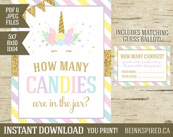 How Many Candies, Candy Guessing Game, Guess How Many, Baby Shower Game, Unicorn Birthday Party Sign, Printable, KADENCE, INSTANT DOWNLOAD