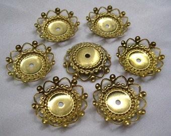 10pcs 25mm Round Heart Bead Cap Raw Brass Findings Golden ca005