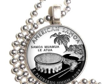 American Samoa Charm, USA Quarter Dollar Altered Art Photo Pendant, Earrings and/or Keychain Round, Silver and Resin Charm Jewelry