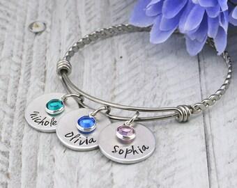 Custom Hand Stamped Bracelet for Women - Personalized Bracelet for Mom - Personalized Jewelry for Mom - Personalized Birthday Gift for Mom