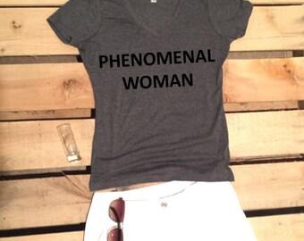 On Sale - Phenomenal Woman V-Neck Woman's Maya Angelou T-Shirt by InfiniteWares
