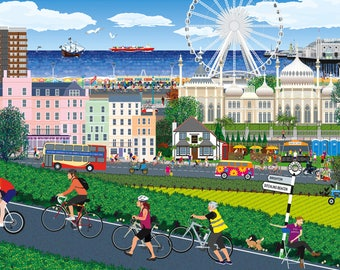 Cycling to Brighton -  Limited Edition Print, Original Art, on Canvas
