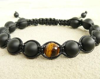 Shamballa bracelet, Black onyx tiger eye macrame bracelets, Men beaded bracelet, Matte black onyx jewelry, Protection bracelet for men gift