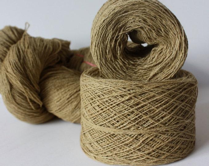 100% Hemp Yarn - Natural Dye - Col: 004 Oroxylum Indicum with Iron - Dark Yellow