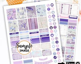 Lavender Weekly Planner Stickers Kit, Printable Stickers, Scrapbook Stickers, Agenda Stickers, Lavender Stickers