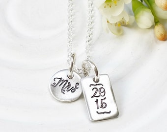 Bride to Be Gift - Personalized Jewelry - Wedding Gift - Mrs Necklace - Birthstone Initial Necklace - Gift for Bride - Wedding Date Necklace