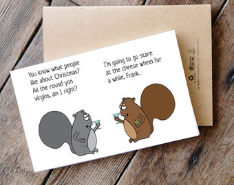 Round Yon Virgins - Printable Funny Squirrel Christmas Card
