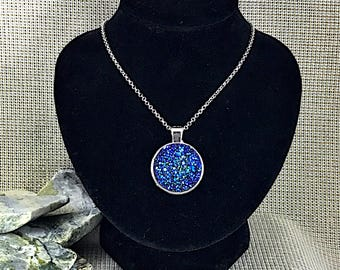 Blue Rainbow Druzy Necklace - Drusy - Druzy Necklace - Druzy Jewelry - Blue - Jewelry - Bridesmaid Gift - Druzy - Jewelry - Gift - Necklace