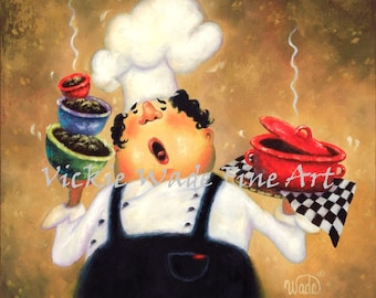 Chef Painting ORIGINAL oil, 16X16 fat chef painting, chef kitchen art, chef paintings, chefs, funny waiter, restaurant art, Vickie Wade Art