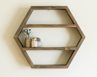 Large Wooden Hexagon Shelf, Essential Oil Storage, Nail Polish Shelf, Wall Storage, Floating Shelf, Geometric Wall Decor, Boho Home Decor
