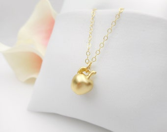 Tiny apple necklace etsy free us ship tiny gold apple necklace on gold filled chain minimalist necklace dainty gold apple aloadofball Gallery