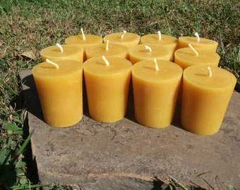 100% Beeswax Votive Candles - 12 Standard Beeswax Votive - Free Ship! -