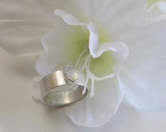 Moonstone Ring on Wide Sterling Band: Promise, Engagement, Anniversary or Birthstone Ring