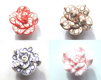 Pink Pearl flower shape 25x14mm polymer clay / / choose colors