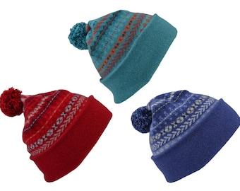 3 colours. fair isle ski hat, winter hat, pom pom hat, bobble hat. red, blue, teal orange