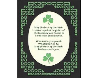 Irish Blessing - May Luck of Irish...Paper Cut Celtic Knot Border Shamrocks Wall Art St. Patrick's Day 8X10 Unframed