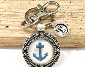Personalized Nautical Gifts, Anchor Keychain, Initial Keychain, Sailing Gifts, Anchor Gifts, Personalized Nautical Favors, Nautical Keyring