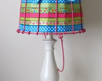 Bucket of Light Large Multi-Colored Pink Aqua and Green Table Lamp