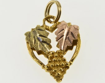 10K Heart Two Tone Textured Leaf Design Charm/Pendant Yellow Gold