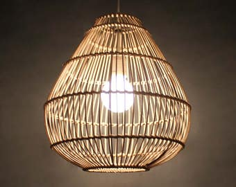 Pendant light etsy sample style rattan pendant lights rattan lampshade ceiling lamps lighting fixtures rustic mozeypictures Images