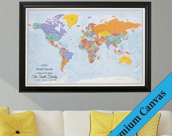 Canvas personalized executive world travel map push pin canvas personalized blue oceans world travel map push pin travel map canvas world map second anniversary gift cotton anniversary gift gumiabroncs Gallery