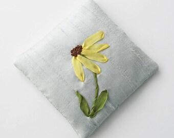 Lavender sachet with Black Eyed Susan, silk ribbon embroidery, hand embroidered lavender sachet