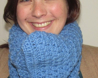 Blue Crocheted Cowl scarf