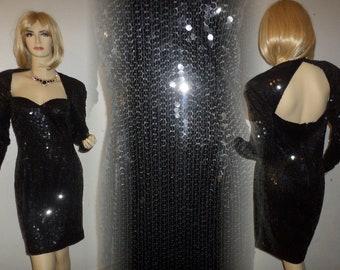 Vintage Sequin Dress Oleg Cassini Black Tie1970's Fully Embellished Black Sequins Open Back Dazzling Dress Size 10