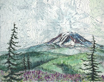 Mt Adams Summer, Mount Adams art painting print Mountain illustration, Washington mountain print, wilderness mountain art topo map art