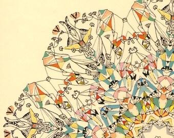 Carnival Wheel in Paris - abstract Art Print abstract print Paris print Paris carnival contemporary design mandala art