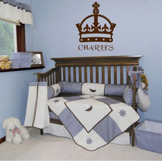 Kings Crown Wall Vinyl Decal Baby nursery wall decals Crown with name
