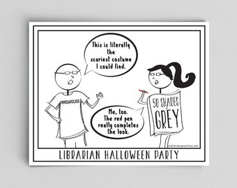 Halloween Comic Librarian Halloween Costumes Typographic Print Jokes English Teacher Gifts for Teachers Classroom Posters Gag Gift